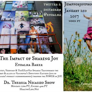 Join me on Monday January 23rd at noon PT on The Dr. Theresa Nicassio Show with Eyoalha Baker on HealthyLife.net - All Positive Talk Radio for an inspiring and heartwarming conversation about the impact of sharing joy.