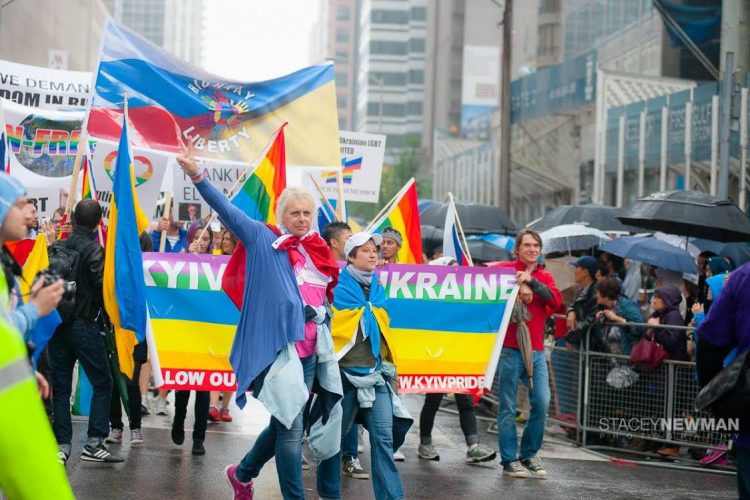 From the first attempt to hold a March of Equality in 2012, KyivPride has become a symbol of determination and persistence to push back against systemic homophobia in Ukraine. At the first successful march, in 2013, only 100 participants were permitted by the authorities, and they marched just 300 metres whilst surrounded by more than 1,600 police in riot gear to protect them from the homophobic protestors.